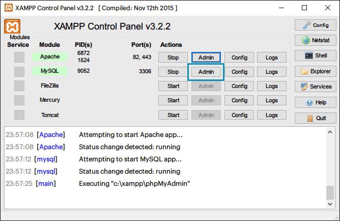 XAMPPからphpMyAdminを起動