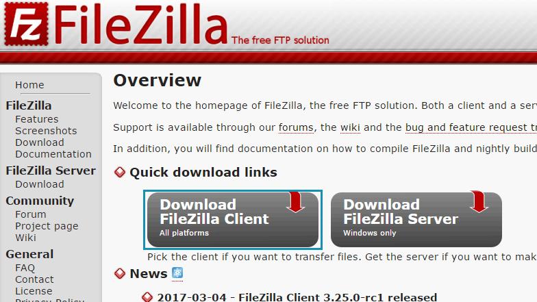 FileZillaのトップページ