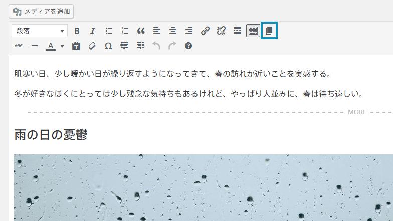 ビジュアルエディタに改ページボタンを追加
